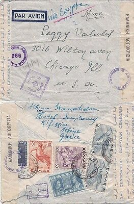 Greece 1941 Air mail cover from Kifissiar and sent via Egypt to USA. {Below}