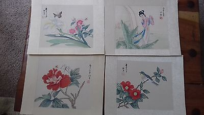 chinese painting set of four beautiful paintings on silk. Signed.