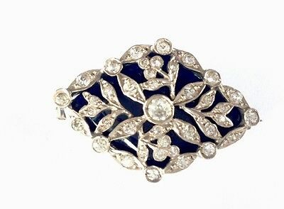 Antique Hallmarked French Silver Blue Enamel & Diamond Paste Brooch