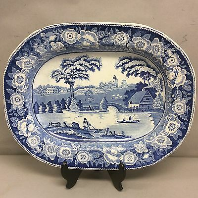 English Pearlware  Platter  Blue And White 18""