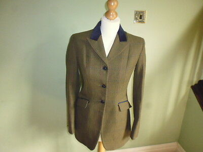"""Mears Pytchley Ladies Green Wool Tweed Hacking Show Jacket size 34"""" UK 8"""