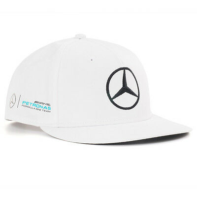 2017 OFFICIAL F1 Mercedes AMG Lewis Hamilton Flat Brim Peak Cap WHITE – NEW