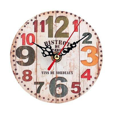 Hot Vintage Style Non-Ticking Silent Antique Wood Wall Clock Home Office Decor