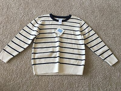 Janie and Jack Boy's Ivory/Navy Blue Striped Long-Sleeve Sweater, Size 4, NWT!