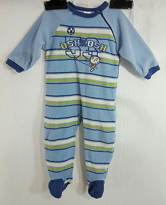 Osh Kosh Baby Boys Blue, Green and White One Piece Footed Sleeper Size 18 Months