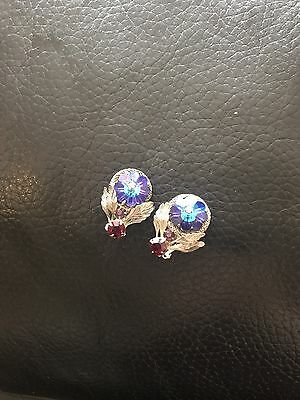 STRIKING BEAUTIFUL VINTAGE COLOURFUL CLIP ON EARINGS  CHEAP 99p Auctions