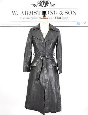 Women's VINTAGE 70's GENUINE LEATHER Long Black Belted Trench MAC Mod Coat UK 8