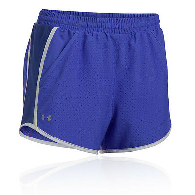 Under Armour Fly By Perforated Damen Laufhose Shorts Jogging Kurze Hose Lila