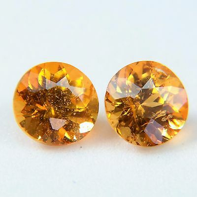 Good Pair 2Pcs Luster! Fanta Red Colour RD 5mm Natural Spessartite Garnet