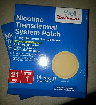 Lot of 2 Walgreens Nicotine Transdermal System Patch STEP ONE 21 mg 28 Patches
