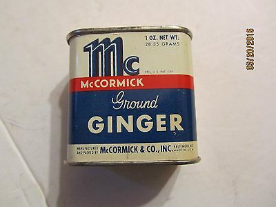 Vintage McCormick Bee Brand Ground Ginger 1 oz Metal Tin 1/2 Full
