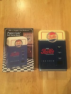 """Pepsi Coin Sorter Bank In Box 1998 Red White And Blue 7"""" H X 4.75"""" W X 2""""d"""