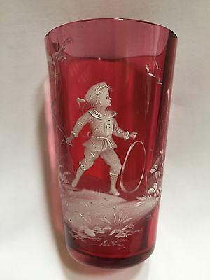 """Antique Hand Enameled Mary Gregory Cranberry Glass Tumbler, 3 7/8"""" Tall"""