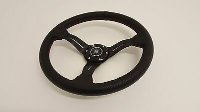 """Nardi Style Dished Steering Wheel - 14"""" / 350mm - Black Leather - Complete Kit"""