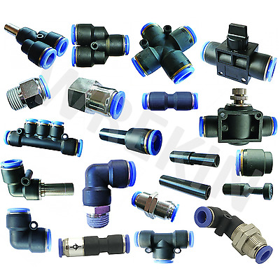 Pneumatic Push In Fittings Air Water Hose Tube Stem NYLON SPEED JOINER UNION TEE