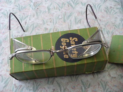 Vintage American Optical SAFETY GOGGLE - PRISTINE - Original BOX - Motorcycle