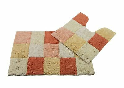 Monet Bath mat 2 PC Set PEACH WHITE 100% COTTON Bathroom rug