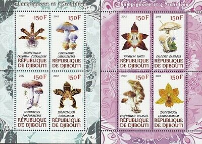 Djibouti 2012 Flower Orchid Mushroom Fungi Plant 2 M/S Stamps MNH perforated