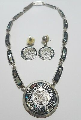 Sterling Mexican Necklace and Earrings Set TC-271 Mother of pearl Aztec