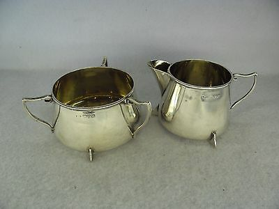 Stylish Solid Silver Sugar Bowl & Cream Jug, Chester 1920