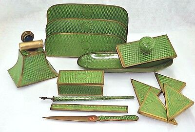 Antique Chinese GREEN GOLD Enameled CLOISONNE Desk Set Letter Inkwell Stamp Tray