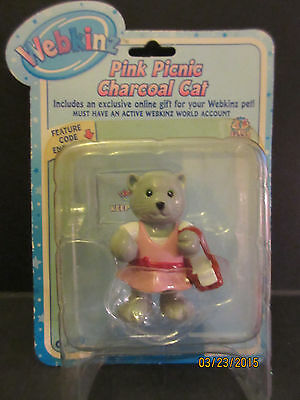 Webkinz PINK PICNIC CHARCOAL CAT Figure new with sealed/unused code WE0000479