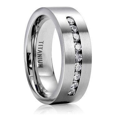 Men 8MM Fashion 316L Stainless Steel Titanium Wedding Engagement Band Ring Size7