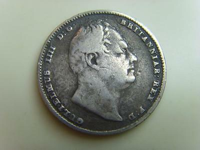 1834 Silver Sixpence (Slight Twisted) King William Iv British Coin Great Britain