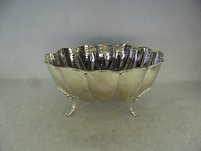Large Italian Solid Silver Planished Silver Bowl