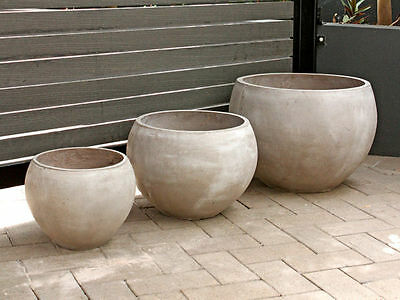 1 fibre clay pots round set of 3 taupe flower garden plant long lasting