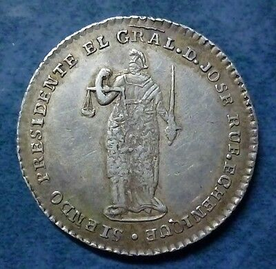 PERU SILVER COIN 2 Reales(?) 1852 - Proclamation of National Constitution