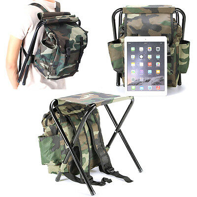 Foldable Fishing Chair Stool Travel Camping Multi-Function Backpack Bag R L  O