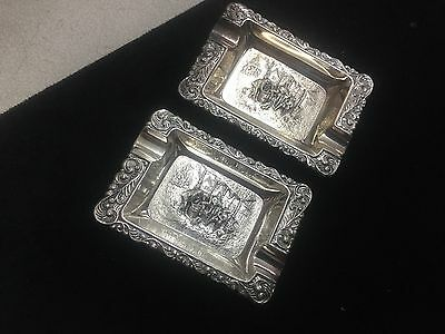 Vintage  silver plated ashtray set   Of 2