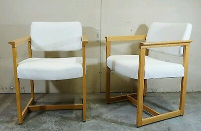 Pair Mid Century Danish Modern Mogensen Style Oak Lounge Arm Chairs Dining