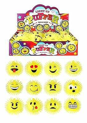 12x Light Up Flashing Puffer Smiley Emoji Stress Ball Kid Toy Party Bag Filler