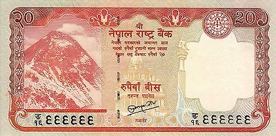 Nepal : FANCY SOLID No. 999999, Mt. EVEREST Banknote, Sign#19, 20 Rupees, UNC.