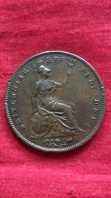 Queen Victoria 1854 One Penny Ornamental Trident Large Copper Penny