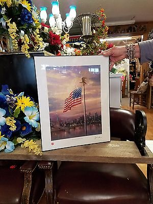 Light of Freedom LE Canvas S/N Thomas Kinkade Painting 18x24 Framed USA Flag