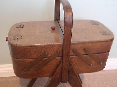 1930's Art Deco Morco oak cantilever tray sewing storage work box