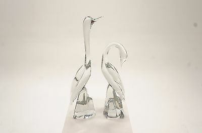 Pair of Vintage Daum Crystal Glass Cranes/Storks/Swans- Gorgeous! Mint Condition