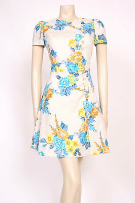 ORIGINAL VINTAGE 1960's 60's BLUE CREAM YELLOW SHORT MOD SUMMER PRINT DRESS! 10