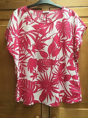 DAMART White and Pink floral blouse Size 16