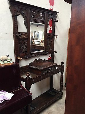 Large Antique Coat & Umberella Stand. Hall Stand. Carved Wood Hat Stand. Storage