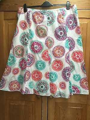 M&S White 100% Cotton Skirt With Multi Coloured Circular Patterns Size 20