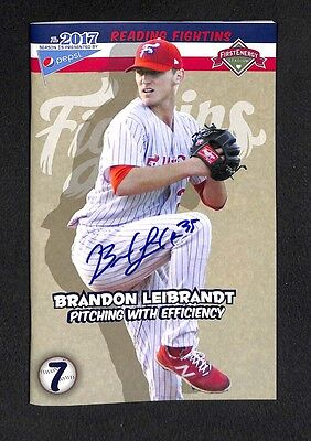Brandon Leibrandt signed auto autograph Reading Fightin Phils program Phillies