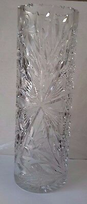 """Beautiful 12"""" Crystal Vase With Floral Star Design  (S)"""