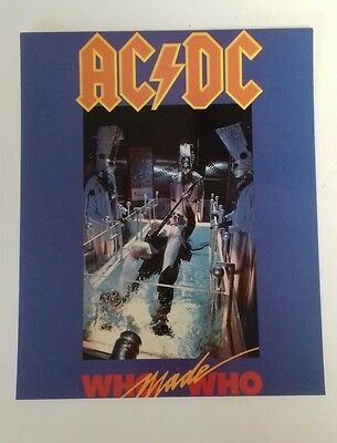 """AC/DC - Who Made Who Album Glossy Pic 1990 10""""X8"""" Official Merchandise Card Pic"""