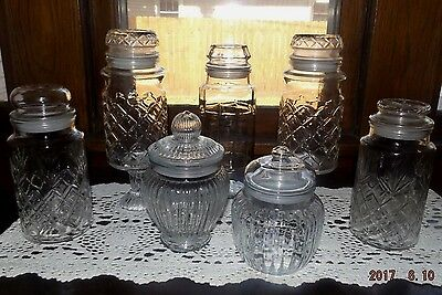 Set Of 7 Patterned Glass Apothecary Jars-Candy Buffet, Wedding/Holiday/Party