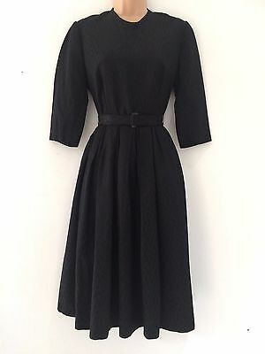 Vintage 1950's Black Jacquard Belted Pleated Prom Evening Party Dress Size 10