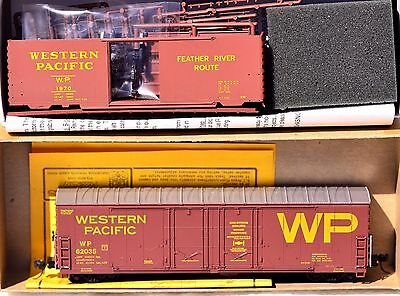 HO Lot of 2 Western Pacific Boxcars; Athearn 40' kit; built Details West 50' DPD